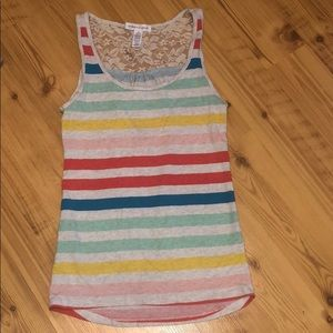 Ambiance apparel tank top with lace back